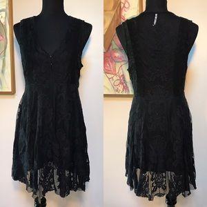 Free People V Neck Black Lace Babydoll Dress